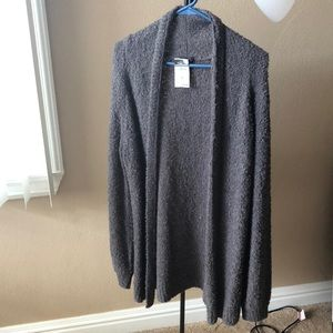 Long, soft, gray cardigan size medium.
